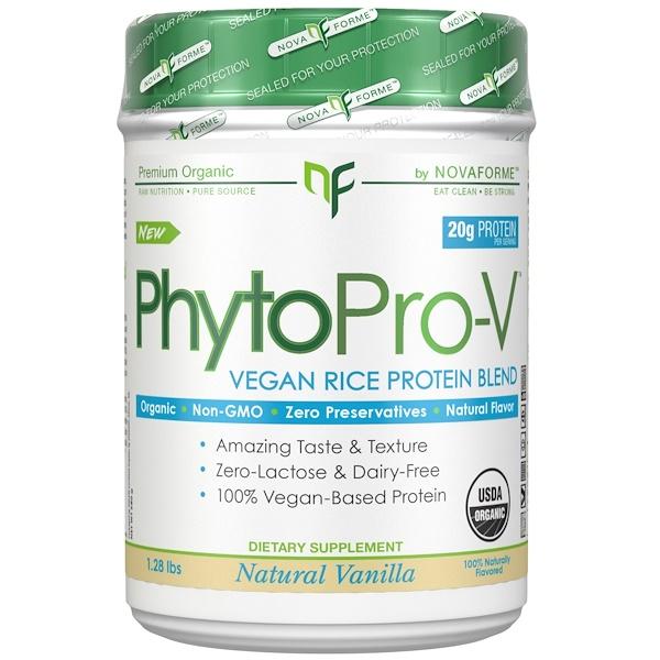 NovaForme, PhytoPro-V, сырой органический премиальный веганский рисовый белок, cертифицированный Министерством сельского хозяйства США (USDA), ваниль, 1,28 фунта (580 г) (Discontinued Item)