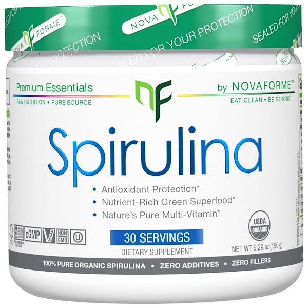 NovaForme, スピルリナ、米国農務省認定純オーガニックスピルリナ、150 g (Discontinued Item)