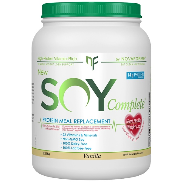 NovaForme, Soy Complete Protein Weight Loss Meal Replacement, Vanilla, 1.2 lbs