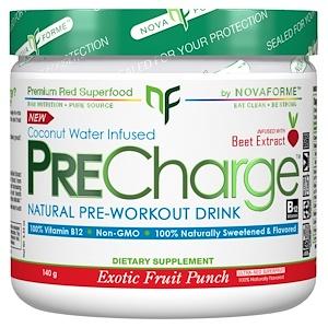 НоваФорме, PreCharge Natural Pre-Workout Drink, Exotic Fruit Punch, 140 g отзывы покупателей