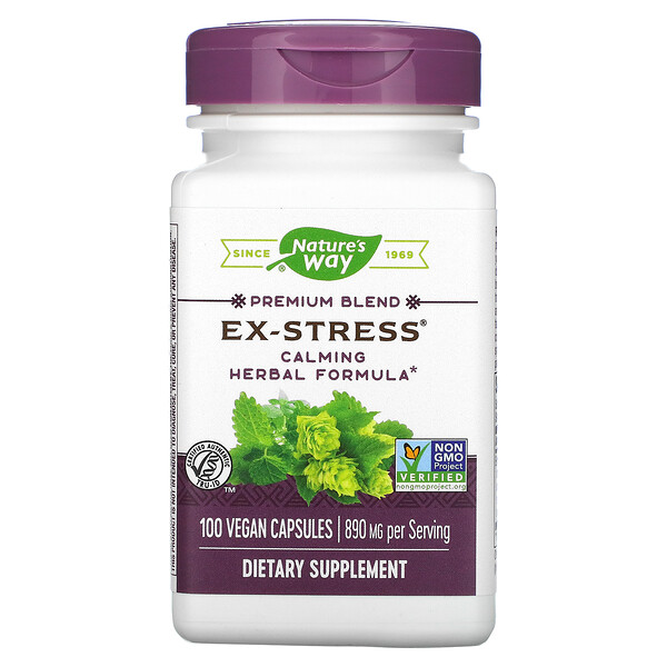 Ex-Stress, Calming Herbal Formula, 890 mg, 100 Vegan Capsules