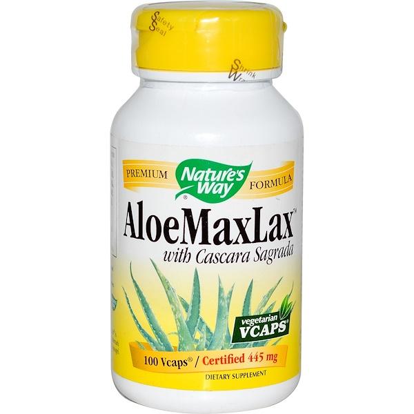 Nature's Way, AloeMaxLax, with Cascara Sagrada, 445 mg, 100 Veggie Caps