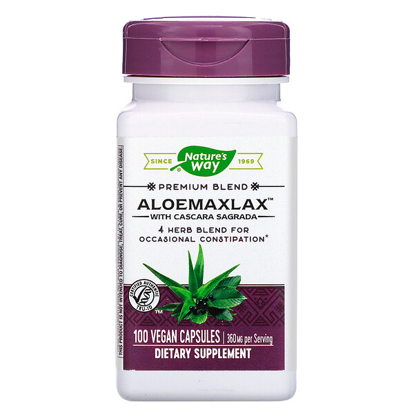 AloeMaxLax with Cascara Sagrada, 360 mg, 100 Vegan Capsules