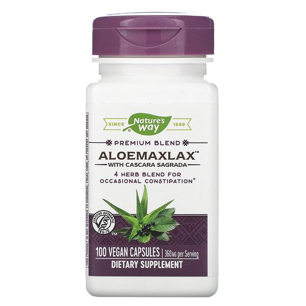 "AloeMaxLax עם קסקרה סגרדה (Cascara Sagrada), 360 ג""ר, 100 כמוסות טבעוניות"