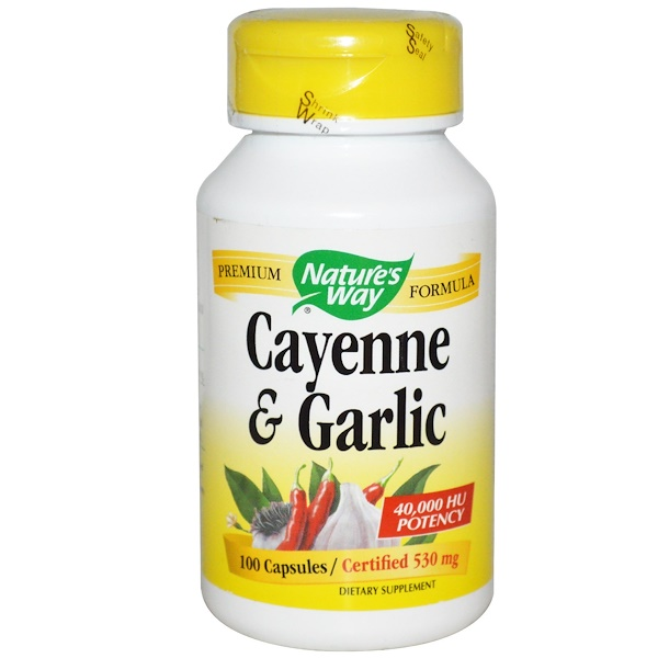 Nature's Way, Cayenne & Garlic, 530 mg, 100 Capsules