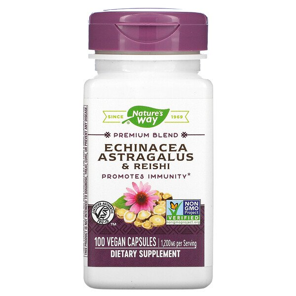 Nature's Way, Echinacea Astragalus & Reishi, 1,200 mg, 100 Vegan Capsules
