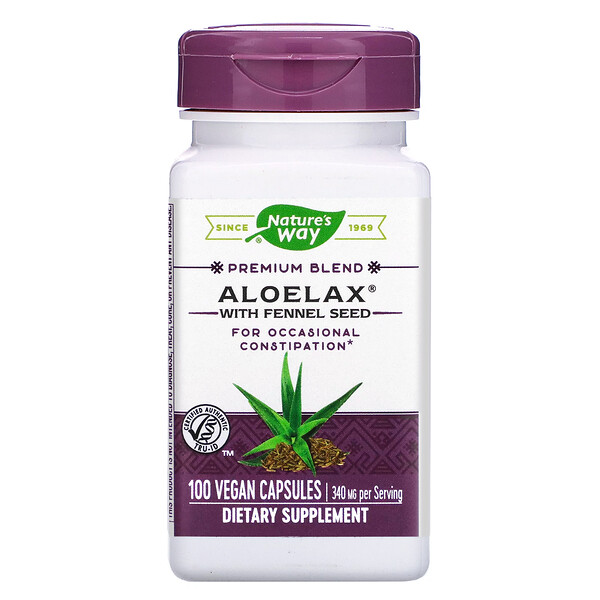 Nature's Way, Aloelax with Fennel Seed, 340 mg, 100 Vegan Capsules