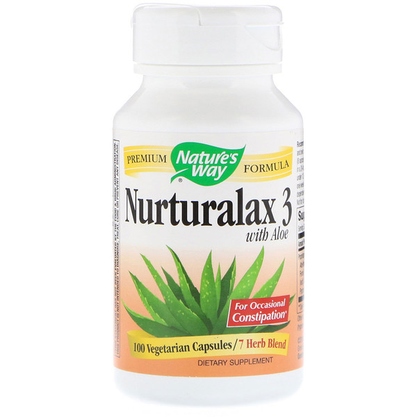 Nature's Way, Nurturalax 3, com Aloe, 100 Cápsulas