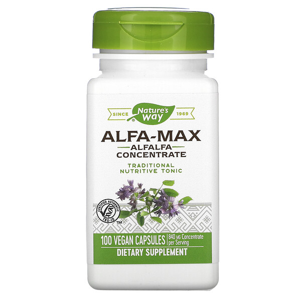 Nature's Way, Alfa-Max, Alfalfa Concentrate, 840 mg, 100 Vegan Capsules