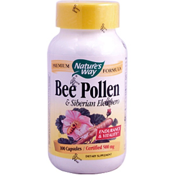 Nature's Way, Bee Pollen with Siberian Eleuthero, 500 mg, 100 Capsules (Discontinued Item)