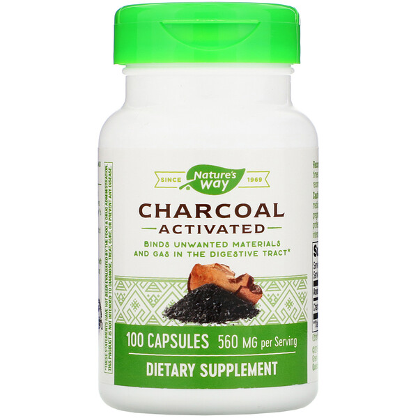 Nature's Way, Charcoal, Activated, 560 mg, 100 Capsules