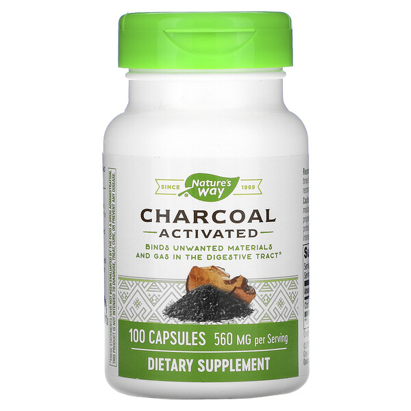 Charcoal, Activated, 560 mg, 100 Capsules