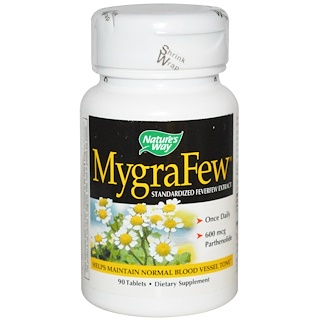 Nature's Way, MygraFew, Standardized Feverfew Extract, 90 Tablets