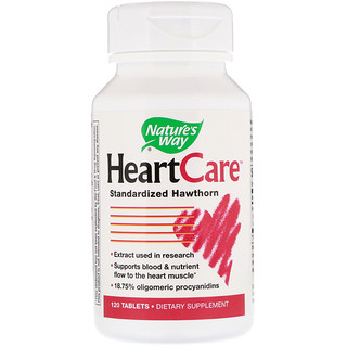 Nature's Way, HeartCare, Extracto de espino, 120 tabletas