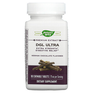 Nature's Way, DGL Ultra, Extra Strength Digestive Relief, German Chocolate, 75 mg, 90 Chewable Tablets