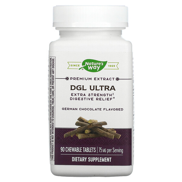 DGL Ultra, Extra Strength Digestive Relief, German Chocolate, 75 mg, 90 Chewable Tablets