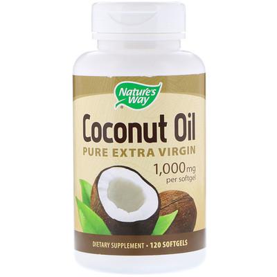 Купить Чистое кокосовое масло холодного отжима, 1000 мг, 120 гелевых капсул