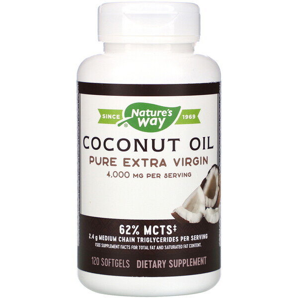 Coconut Oil, Pure Extra Virgin, 4,000 mg, 120 Softgels