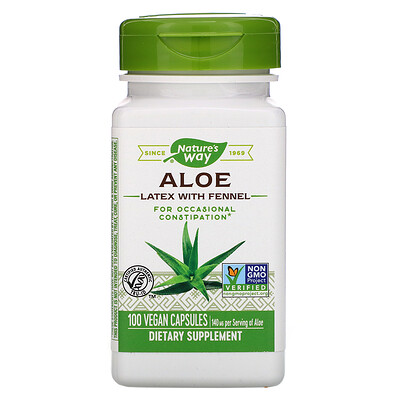 Aloe Latex with Fennel, 140 mg, 100 Vegan Capsules