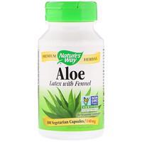 Алоэ, лист и млечный сок, 475 мг, 100 вегетарианских капсул - фото