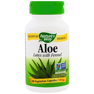 Nature's Way, Aloe, Latex With Fennel, 140 mg, 100 Veggie Caps