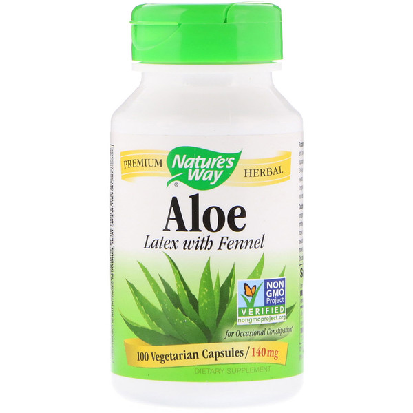 Nature's Way, Aloé, Folha e Látex, 475 mg, 100 Cápsulas
