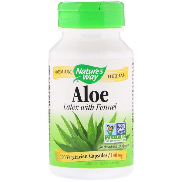 Nature's Way, Aloe, Latex With Fennel, 140 mg, 100 Vegetarian Capsules