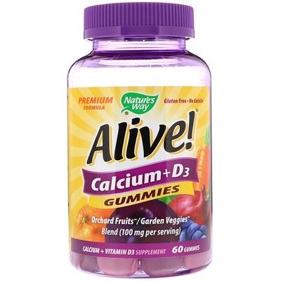 Купить Nature's Way Alive!, кальций и витамин D3, 60 жевательных конфет