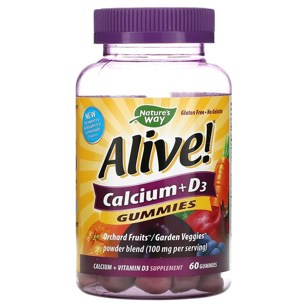 Nature's Way, Alive!, Calcio con vitamina D3, 60 gomitas