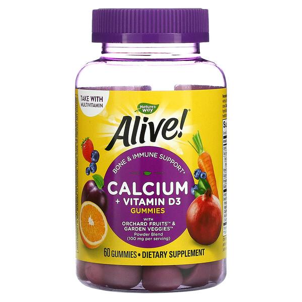 Nature's Way, Alive! Calcium + Vitamin D3, 60 Gummies