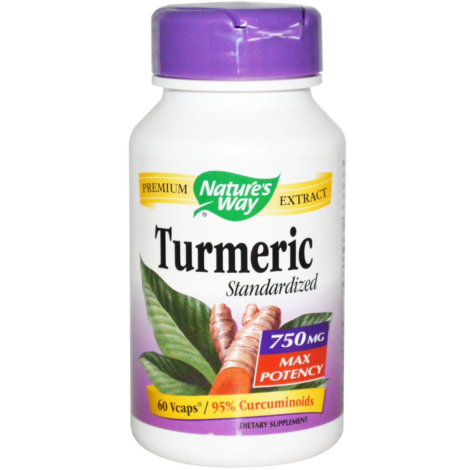 Nature's Way, Стандартизированная куркума, 750 мг, 60 вегетарианских капсул
