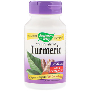 Nature's Way, Turmeric, Standardized, Max Potency, 750 mg, 60 Vegetarian Capsules