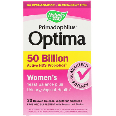 Купить Primadophilus Optima, для женщин, 30 растительных капсул с замедленным высвобождением