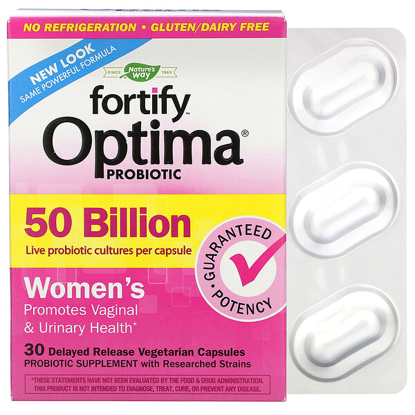 Nature's Way, Fortify Optima Probiotic, Women's, 50 Billion, 30 Delayed Release Vegetarian Capsules
