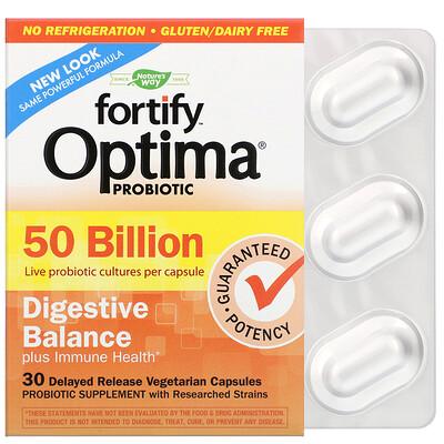 Fortify Optima Probiotic, Digestive Balance Plus Immune Health, 50 Billion, 30 Delayed Release Vegetarian Capsules florassist heart health 60 vegetarian capsules
