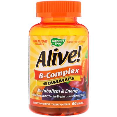 Купить Nature's Way Alive! Комплекс витаминов группы В, вишневый вкус, 60 жевательных таблеток