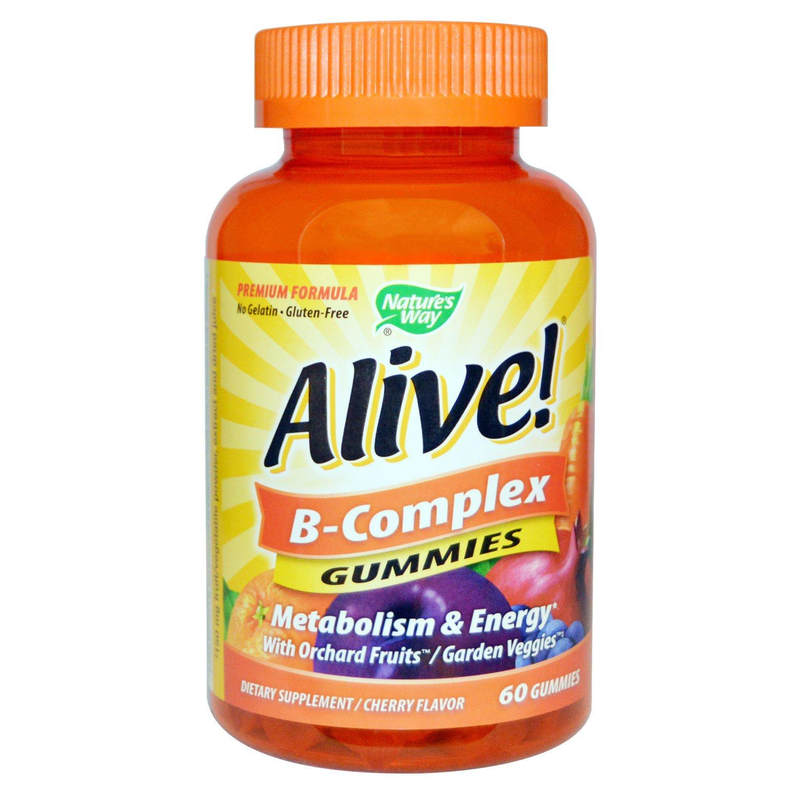 Nature's Way, Alive! Комплекс витаминов группы В, вишневый вкус, 60 жевательных таблеток
