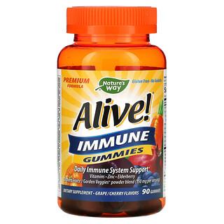 Nature's Way, Alive! жевательная добавка для укрепления иммунитета, со вкусом винограда/вишни, 90жевательных таблеток