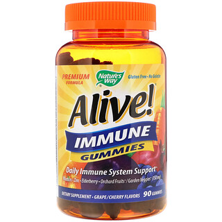 Nature's Way, Alive! Immune Gummies, Grape/Cherry Flavors, 90 Gummies