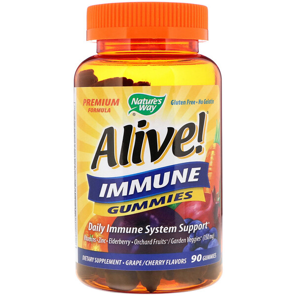 Alive! Immune Gummies, Grape/Cherry Flavors, 90 Gummies