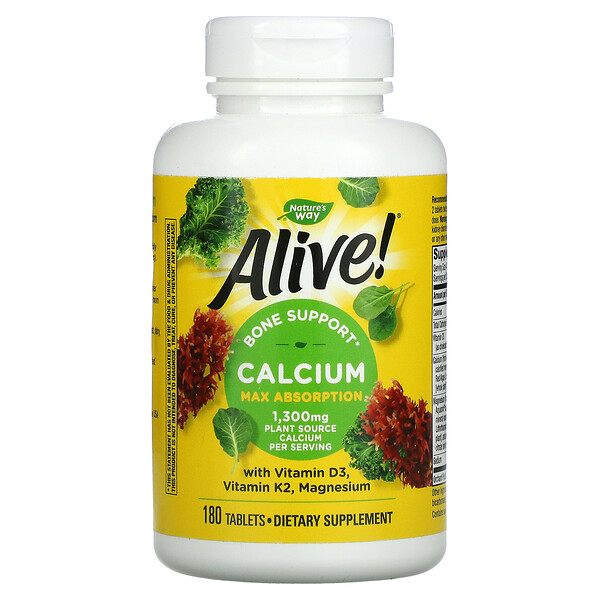 Alive!, Calcium with Vitamin D3, Vitamin K2, Magnesium, 325 mg, 180 Tablets