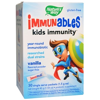 Nature's Way, Immunables, Kids Immunity, Vanilla Flavored Powder, 30 Packets, 1.5 g Each