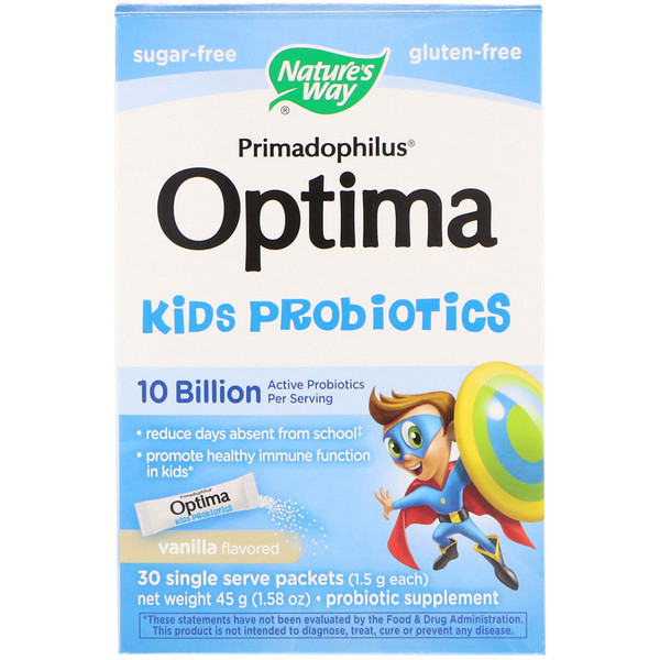 Nature's Way, Primadophilus Optima Kids Probiotics, Vanilla Flavored, 30 Single Serve Packets, 1.5 g Each