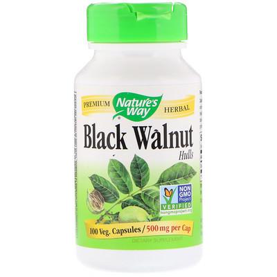 Черный орех, отруби, 500 мг, 100 капсул  - купить со скидкой