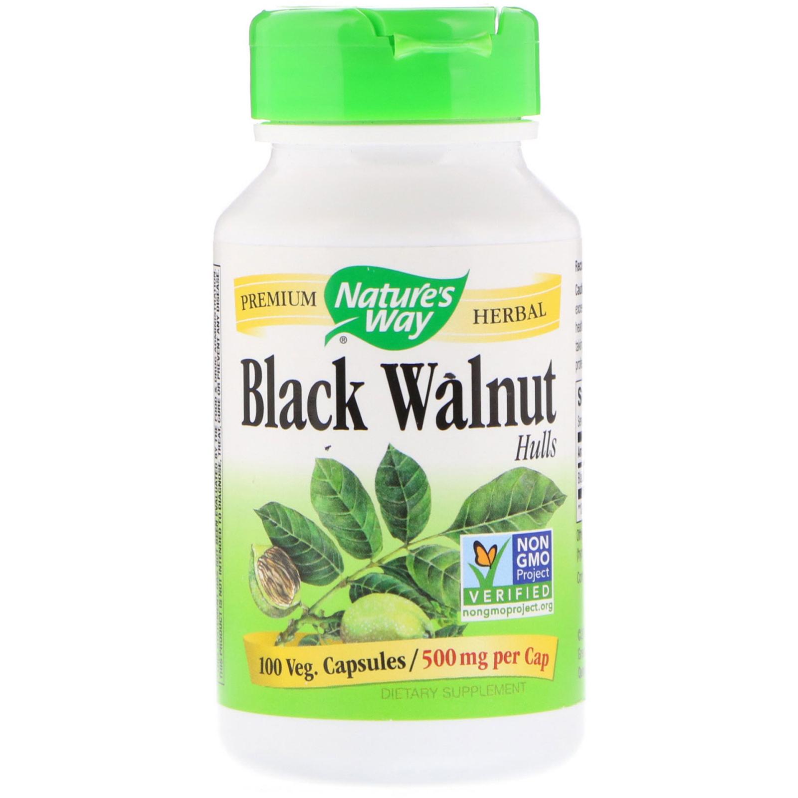 Nature S Way Black Walnut Hulls 500 Mg 100 Vegetarian Capsules