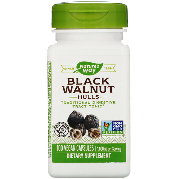 Nature's Way, Black Walnut, Hulls, 500 мг, 100 вегетарианских капсул