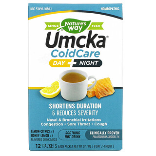 Nature's Way, Umcka, Cold Care, Day + Night, Soothing Hot Drink, Lemon-Citrus, Honey-Lemon, 12 Packets, 0.17 oz Each,  (8 Day / 4 Night)