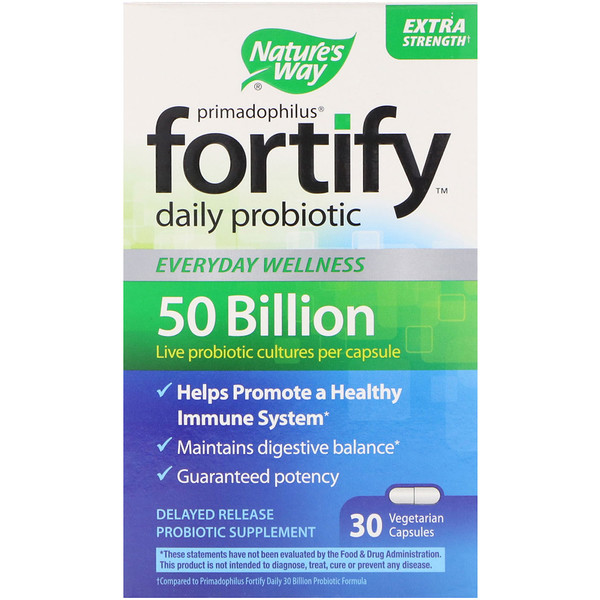 Nature's Way, Primadophilus, Fortify, Daily Probiotic, Extra Strength, 30 Vegetarian Capsules (Discontinued Item)