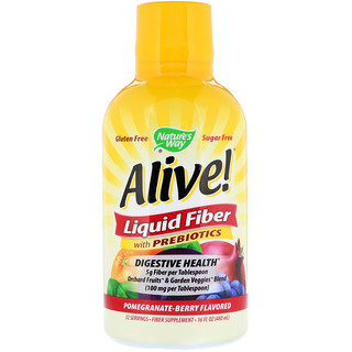 Nature's Way, Alive!, Liquid Fiber with Prebiotics, Pomegranate-Berry Flavored, 16 fl oz (480 ml)
