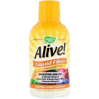 Nature's Way, Alive! Liquid Fiber with Prebiotics, Tropical Citrus Flavored, 16 fl oz (480 ml)